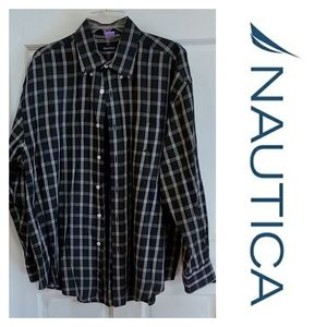 NAUTICA | XL Black White Gold Plaid Long Sleeve